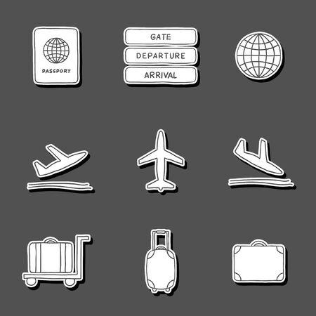Set of hand drawn airport stickers for your design Vector