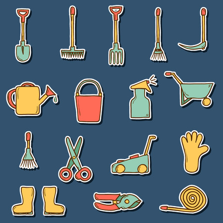 crop sprayer: Set of hand drawn stickers with garden tools for your design Illustration