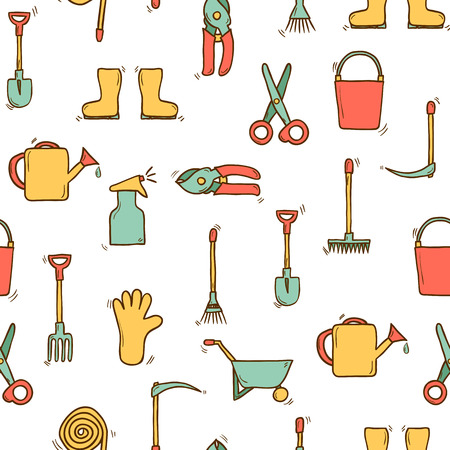 crop sprayer: Seamless hand drawn background with garden tools for your design Illustration