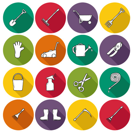 crop sprayer: Set of hand drawn icons with garden tools for your design