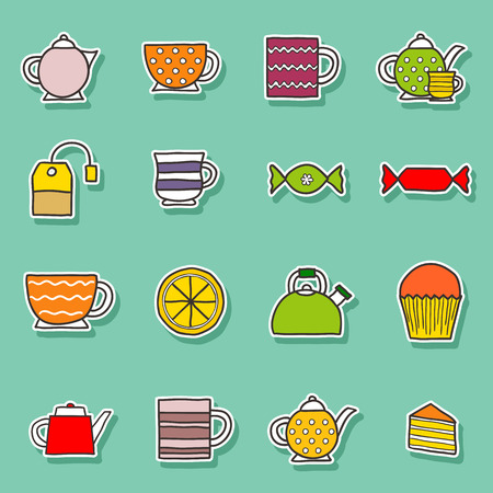 teatime: Set of hand drawn teatime stickers for your design