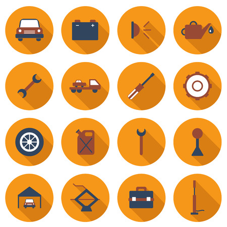 Set of flat car repair icons for your design