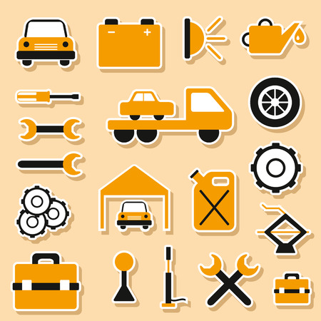 Set of car repair stickers for your design Vector