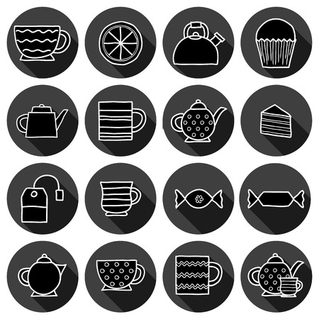 teatime: Set of hand drawn teatime icons for your design Illustration