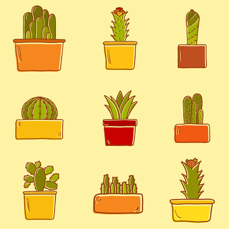 Set of cute hand drawn cactus icons for your design Vector