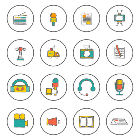 Set of hand drawn journalism icons for your design