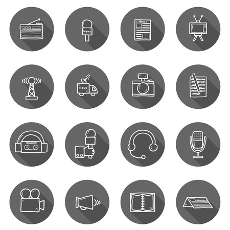 news van: Set of hand drawn journalism icons for your design