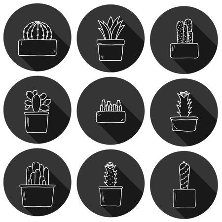 spiked: Set of cute hand drawn cactus icons for your design