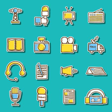 news van: Set of hand drawn journalism stickers for your design Illustration