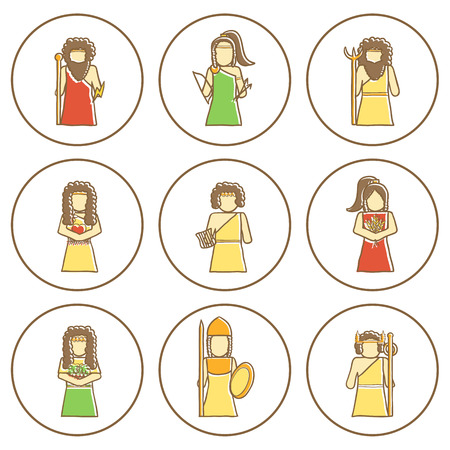 Set of hand drawn icons with Greek gods for your design Illustration