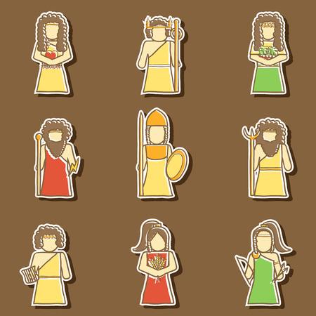 Set of hand drawn stickers with Greek gods for your design Vector