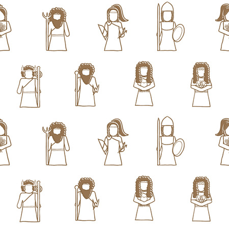 greek goddess: Seamless hand drawn background with Greek gods for your design
