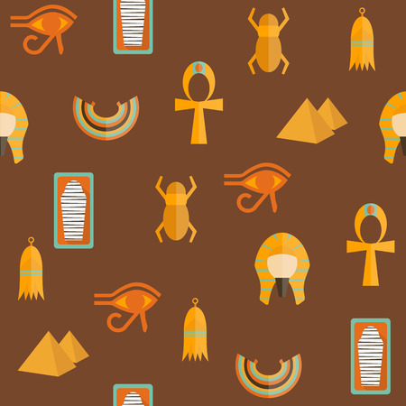 Seamless background on ancient Egypt theme for your design Illustration