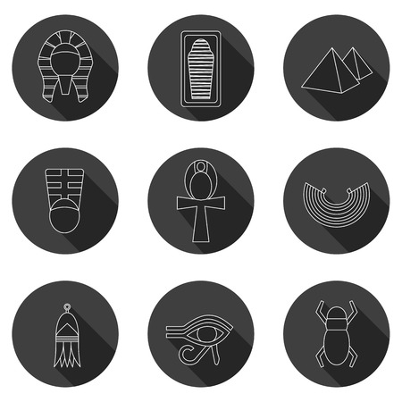 cleopatra: Set of icons on ancient Egypt theme for your design