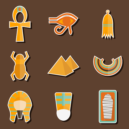 cleopatra: Set of stickers on ancient Egypt theme for your design