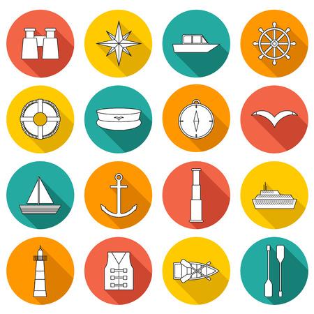 canotaje: Conjunto de iconos de navegaci�n planos para su dise�o