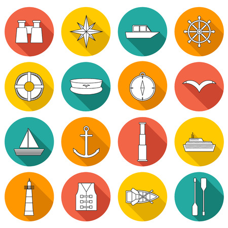 boating: Set of  flat boating icons for your design Illustration