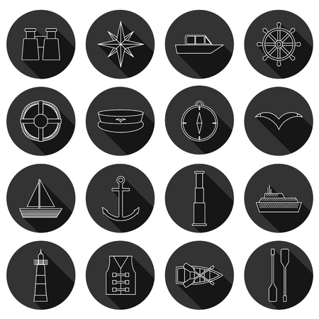 barque: Set of  flat boating icons for your design Illustration