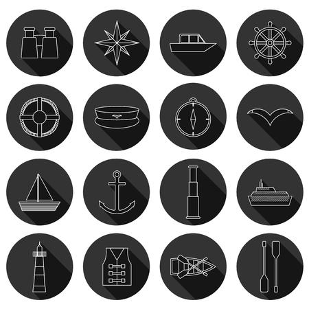 boating: Set of  flat boating icons for your design Illustration