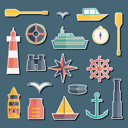 barque: Set of  flat boating stickers for your design Illustration