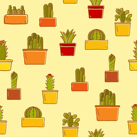 thorn bush: Seamless background with hand drawn cactus for your design