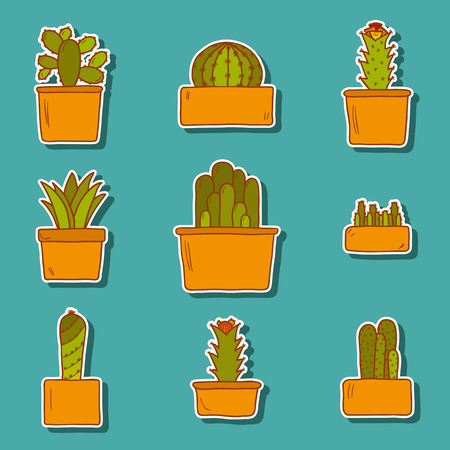 thorn bush: Set of cute hand drawn cactus stickers for your design