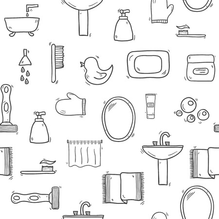 shower curtain: Seamless hand drawn bathroom background for your design Illustration