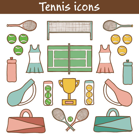 exercise machine: Set of hand drawn tennis icons for your design