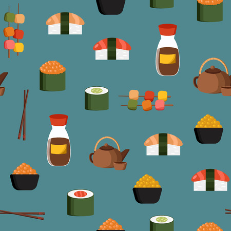 japanese cuisine: Seamless background on japanese cuisine theme for your design Illustration