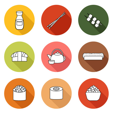 japanese cuisine: Set of simple icons with japanese cuisine objects for your design