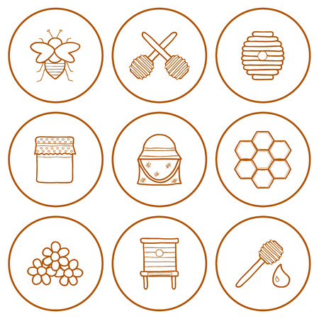 Set of hand drawn icons on beekeeping theme for your design Illustration