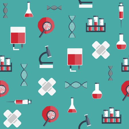 blood test: Seamless background with flat objects on blood transfusion theme for your design Illustration