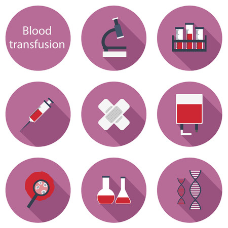 transfusion: Set of flat icons on blood transfusion theme for your design