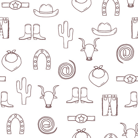 accessories horse: Seamless hand drawn rodeo background for your design