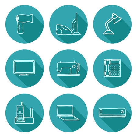 Set of hand drawn home appliances icons for your design Vector