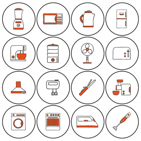 rice cooker: Set of hand drawn icons on home appliance theme for your design