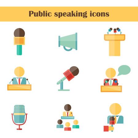 oratory: Conjunto de iconos planos aislados en hablar en público Vectores