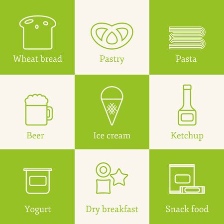 allergic: Set of outline icons with allergic gluten products Illustration