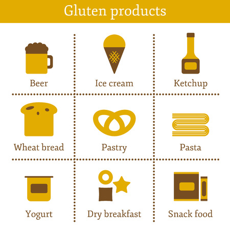 allergic: Set of icons with allergic gluten products