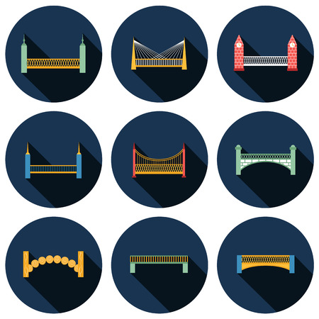 balustrade: Set of isolated modern bridges flat icons with shadows for your design Illustration