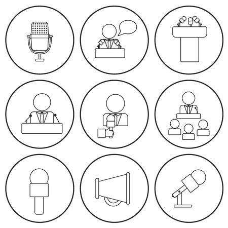 oratoria: Conjunto de iconos aislados de línea delgada en hablar en público