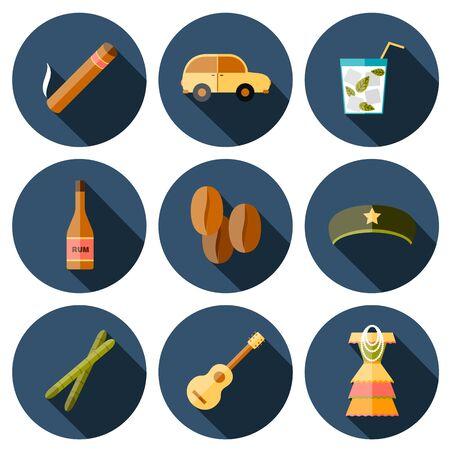havana cigar: Set of flat colorful icons with shadows on Cuba theme