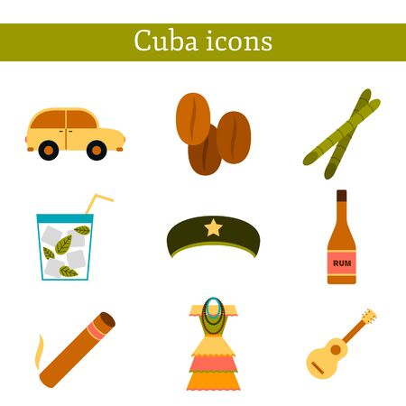 cuban cigar: Set of flat colorful icons with shadows on Cuba theme