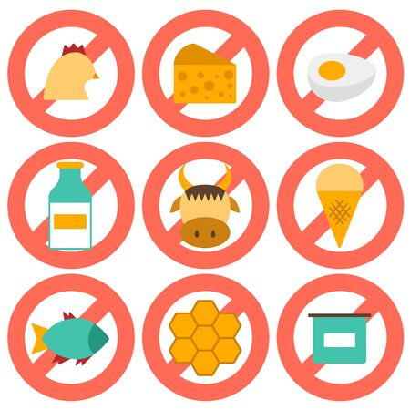 fish on ice: Set of modern flat icons with products containing animal protein and prohibited for vegans: milk, cheese, egg, yogurt, fish, ice cream, red meat, honey, poultry meat. Vegan concept with sign Prohibited. You can use it for your natural organic farm desig Illustration