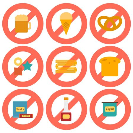 allergic: Set of flat icons with allergic gluten products: bread, pastry, pasta, beer, yogurt, ice cream, dry breakfast, ketchup and snack food. Gluten intolerance concept with sign Prohibited. You can use it for your gluten free design and unhealthy or allergic