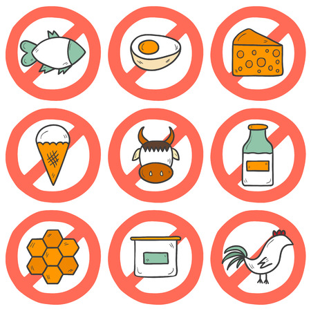 cheese cartoon: Set of modern cartoon hand drawn icons with products containing animal protein and prohibited for vegans: milk, cheese, egg, yogurt, fish, ice cream, red meat, honey, poultry meat. Vegan concept with sign Prohibited. You can use it for your natural orga