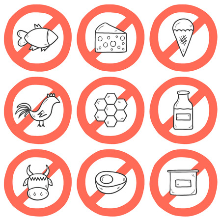 fish in ice: Set of modern cartoon outline hand drawn icons with products containing animal protein and prohibited for vegans: milk, cheese, egg, yogurt, fish, ice cream, red meat, honey, poultry meat. Vegan concept with sign Prohibited. You can use it for your natu