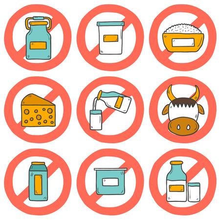 """intolerancia: Conjunto de dibujado a mano iconos modernos lindos de la historieta con los productos que contienen lactosa: botella de leche, vidrio, queso, reques�n, crema, yogur, vaca. Concepto de intolerancia a la lactosa con el signo """"Prohibido"""". Usted puede utilizarlo para su dise�o leche fresca, la intolerancia a la lactosa o cinco"""