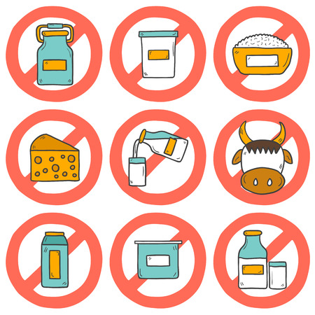 Set of modern cute cartoon hand drawn icons with products containing lactose: milk bottle, glass, cheese, cottage, cream, yogurt, cow. Lactose intolerance concept with sign