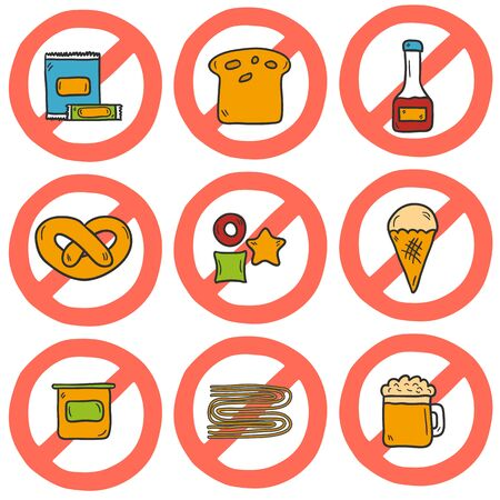 intolerance: Set of cute cartoon hand drawn icons with allergic gluten products: bread, pastry, pasta, beer, yogurt, ice cream, dry breakfast, ketchup and snack food. Gluten intolerance concept with sign Prohibited. You can use it for your gluten free design and unh